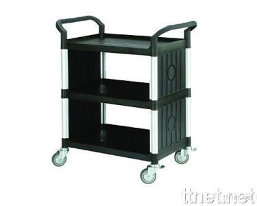 3 Shelves Service Cart  w/Panels on 2 Sides