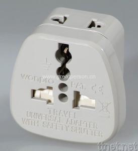 Universal Safety Travel Adapter w/2-pin Universal Socket
