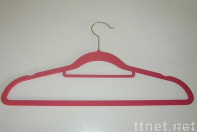 plastic flocked suit hanger with necktie bar and indents