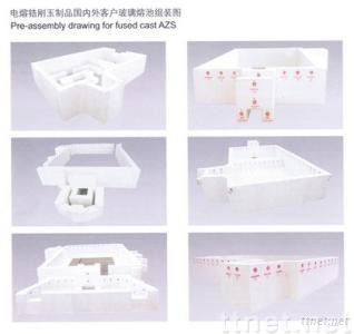 Fused cast AZS refractories for glass furnace