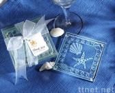 Shell and Starfish Frosted Glass Coasters