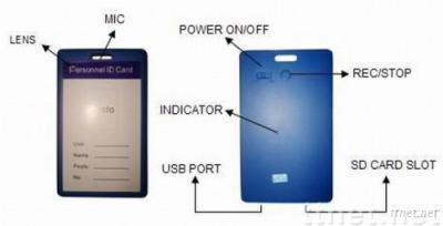 HD ID Card Mini Spy Camera 640*480 Big Size in Colour Blue