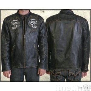 Affliction Shredded Embroidery Leather Jacket Sz L XL XXL