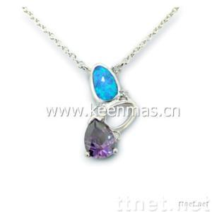 925 sterling silver necklace with CZ and Opal stone_fashion necklace,silver necklace,fahion jewelry,opal jewelry