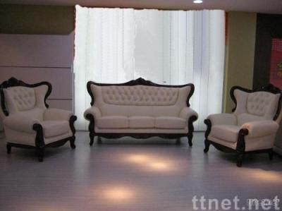 traditional/transitional Flower Crown Leather Sofa