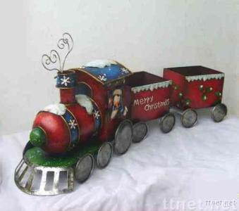 iron train christmas decoration with flower pot