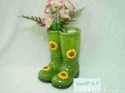 ceramic shoes garden decoration with flower pot