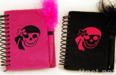 Plush note book with feather pen and embroider skull