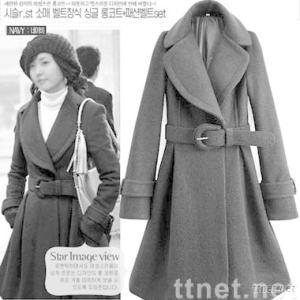Bestand Retail Korean Style Lapel Long Coat/ Women's outerwear coats Black JR0014