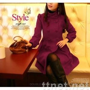 Hot Selling Korean Double Breasted Long Tunic Coat Lady / Women's Warm outerwear Purple JR0018