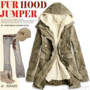 Korea Style Hood Two-piece Green Long Coat / Lady / Women's Warm outerwear army green JR0425
