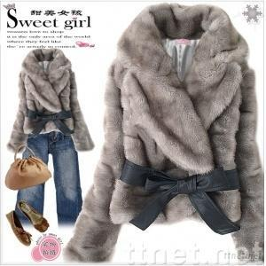 Fashionable Warm Rabbit Hair Grey Lady Coat Belted SIZE : S, M, L JR001