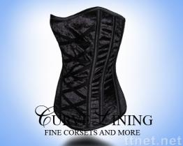 [Wholesale Steel Boned Corset] Black Velvet CL-C36