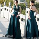 Evening Gowns Halter Prom Dress Sleeveless Beaded Satin Evening Dress 30051