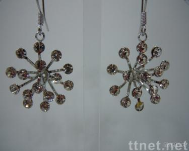 Flower-shaped Rhinestones Earrings
