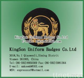 Garment badge,Bullion Wire Badge,Lion Embroidered Badge