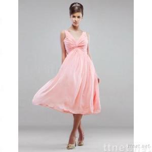 Aline V-neck Tea-Length Chiffon Bridesmaid/ Wedding Party Dress (HSX155)