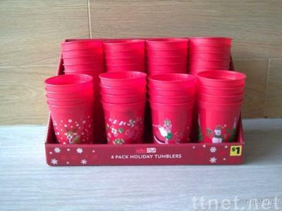 4 pk Red Plastic Cups for Christmas