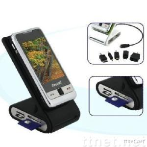 USB Phone Stand / Holder With Phone Charger And Card Reader