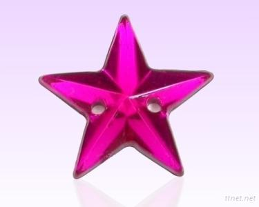 Acrylic Beads With 2 Holes Star