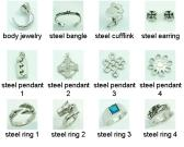 316L Stainless Steel Bangle Earring Cufflink Ring Pendant