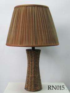 Rattan Lamp With Fabric Shade