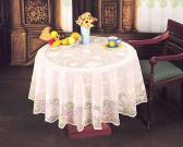 Vinyl Lace Table Cloth with Spray Pattern