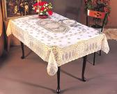 Vinyl Crochet Lace Tablecloth with Golden