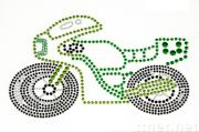 Iron On Aluminum Sequins Motif-Motorcycle