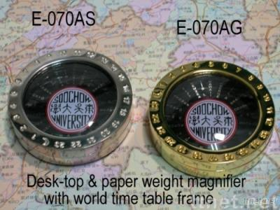 Deluxe Desk-top magnifier with world time table