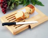 Wooden Board Set with Bread Knife