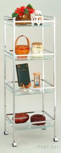 4 Tiers K/D Rectangular Trolley W/Clear Tempered Glass