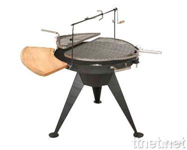Deluxe BBQ Grill with Movable Grills and Roast Chicken Racket