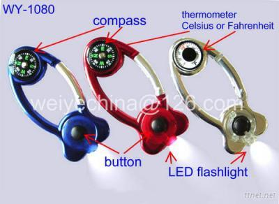 Carabiner LED Flashlight with Compass and Themometer