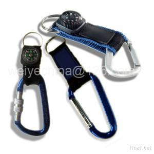 Carabiner w/Strap with Compass for Promotion