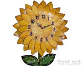 Wall Clock with Cow Leather Carve & Painting