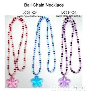 Flower With Ball Chain Necklace