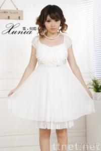 Short Sleeve Frilled Solid Color Chiffon Dress
