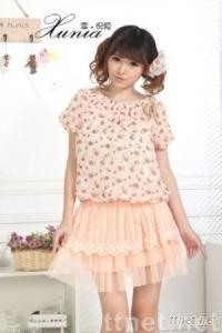 Short Sleeve Small Flower Printing Top + Solid Skirts