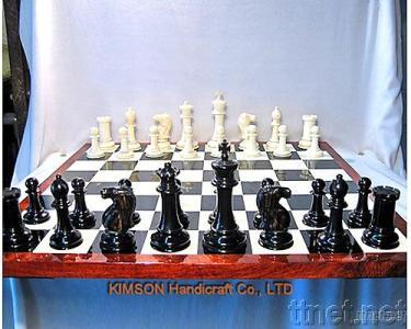 Chess and Chessboard Made of Horn, Bone