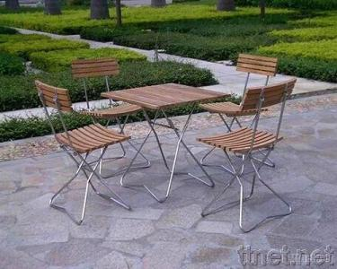 Stainless Steel Teak Folding Set