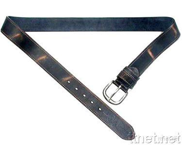 Genuine Leather Belt with Silver Buckle