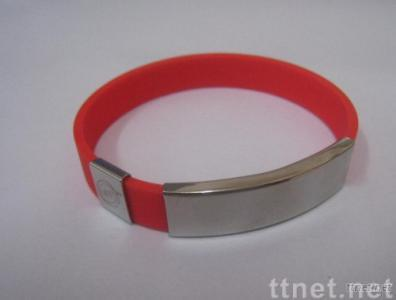 Fashion Silicone Wristband with Metal Plated
