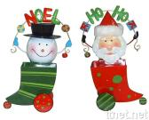 Metal Santa & Snowman Stocking with Springy Coil Head