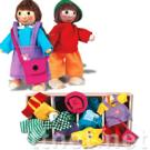 Dress up peolple. Two flexible wooden figures with lots of clothes. Children can dress them up as their like.