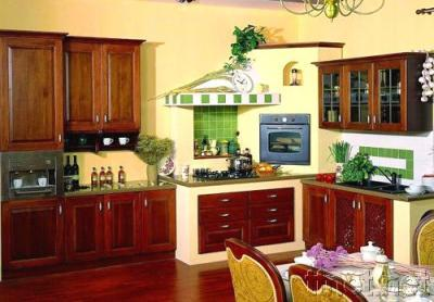 Wooden Kitchen Cabinets with Countertop and Sinks