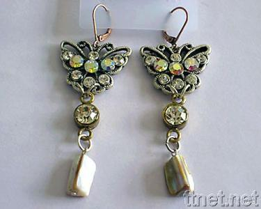 Earrings with Casting and Stone