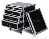 12U RACK FLIGHT CASE  WITH 4 DRAWERS; 1X4U, 2X3U, AND 1X2U HIGH WI