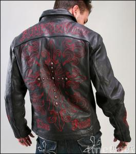 NEW Arrival! Affliction Limited Edition Cross Leather Jacket in Black -A446 Sz M-2XL