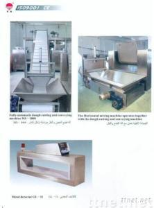 biscuit dough sending and cutting machine and metal detector